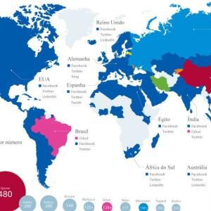 O mapa-mundi das redes sociais